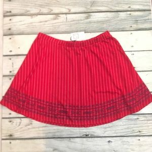 NWT THML red and white stripe a line skirt 3X